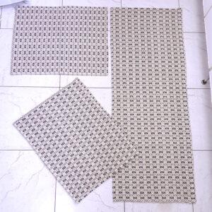 Jogo de cozinha Asteca Marrom Escuro e Marrom Claro 3 peças Volpe Têxtil